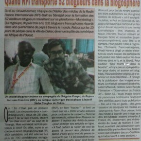 Une vue de la publication du compte rendu de la formation des mondoblogueurs à Dakar, dans un journal ivoirien. Crédit photo: quotidien Le Mandat