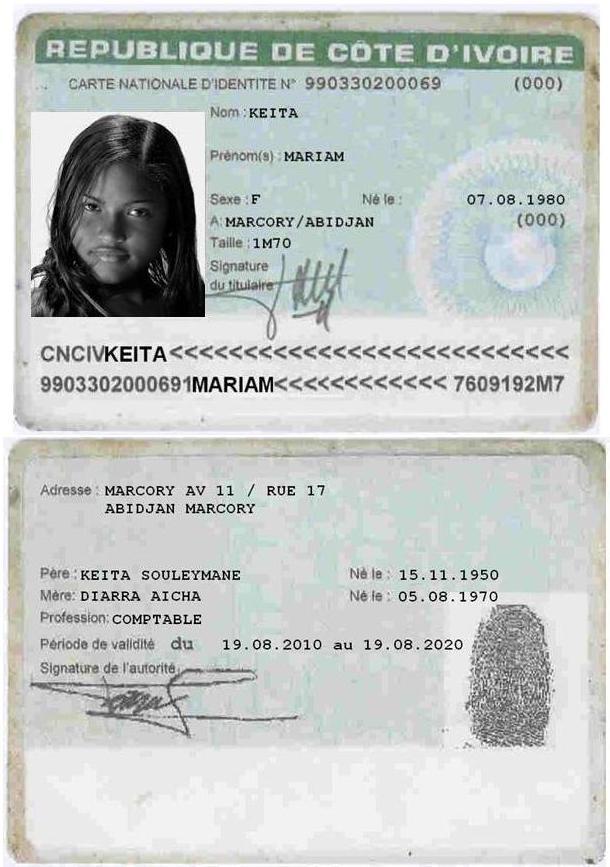 Une fausse copie d'une Carte nationale d'identité (ancien format) par des brouteur (homme) pour pouvoir retirer de l'argent. photo: DR