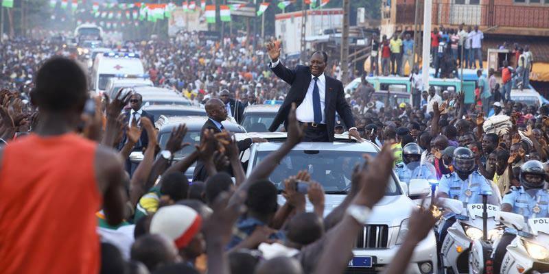 Entrée triomphale du président Ouattara à Korhogo, son fief électoral. Photo: DR