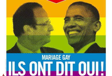 Les présidents français et américain, pour le meilleur et pour le pire, soutiennent le mariage Gay. crédit photo: La Une de Libération (journal français)
