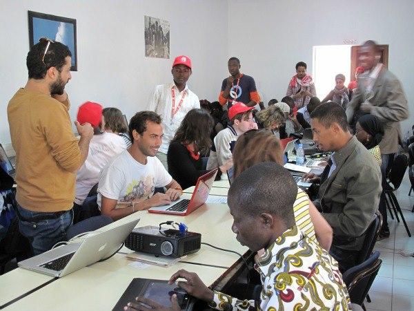 Lors de la formation à l'Agence universitaire de la francophonie de Dakar, le 10 avril 2013. crédit photo: Pierrick De Morel