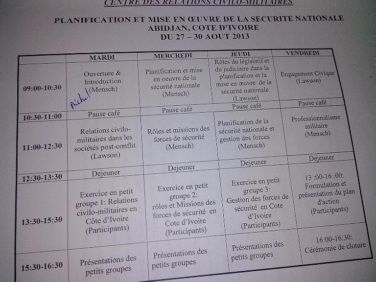 Un aperçu du programme des quatre jours de travaux sur la sécurité ivoirienne. crédit photo: FBI