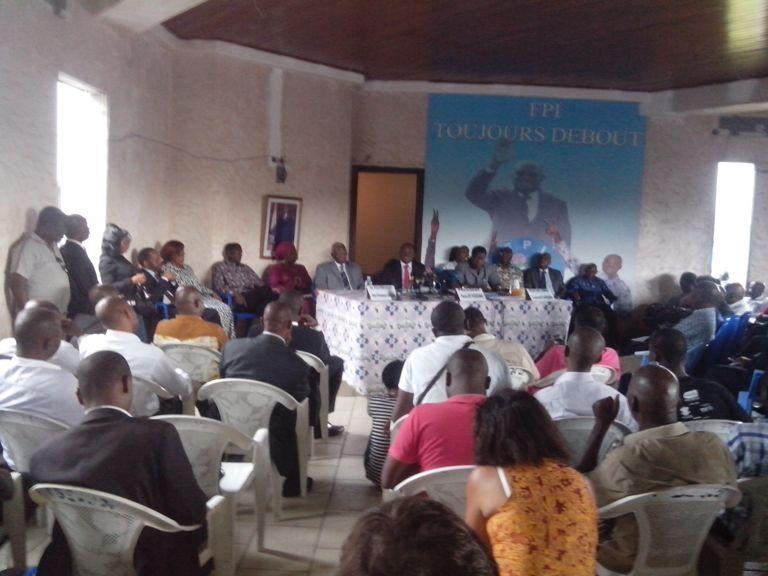 Première conférence de presse de Affi N'guessan, au siège du FPI, le 04 décembre 2013. Ph: FBI