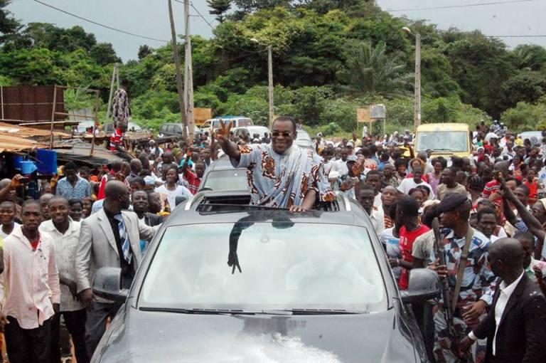 Le président du FPI, Affi N'guessan, accueilli pendant une tournée dans la région de Bondoukou. Ph: DR