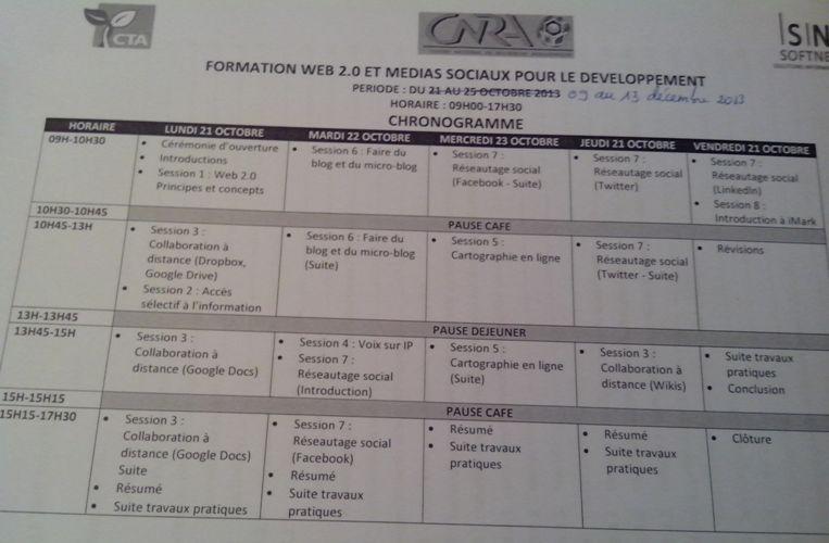 Chronogramme de la formation d'une semaine à Bouaké. Ph: FBI