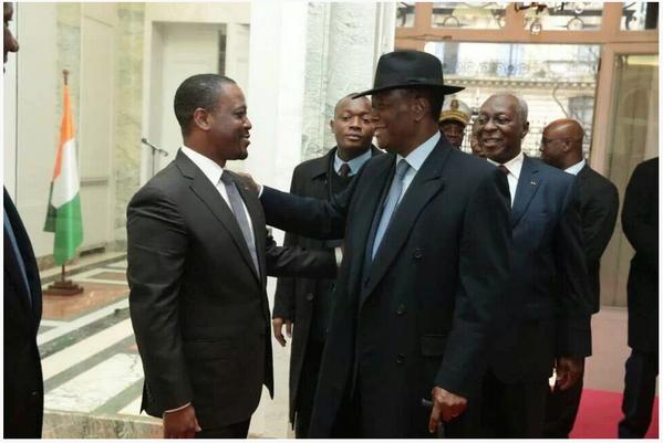 Le président de la République, Alassane Ouattara et Guillaume Soro, président de l'Assemblée nationale ivoirien à Paris le jeudi 27 février 2014. Ph: Présidence ivoirienne