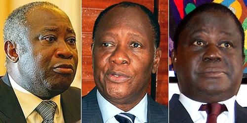 De gauche à droite (Gbagbo, Ouattara, Bédié)... Ph: DR