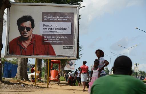 Campagne d'affichage lancée par RSF en Côte d'Ivoire pour le 10e anniversaire de la disparition du journaliste franco-canadien Guy-Andre Kieffer. Ph: DR