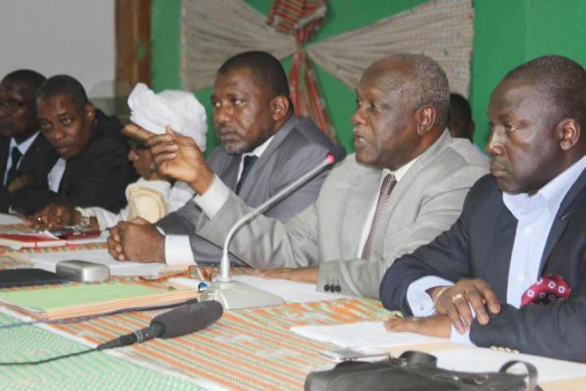 Gilbert Koné Kafana, au micro, l'un des responsables politiques du Rdr, chargé des questions électorales. Ph: Abidjan.net