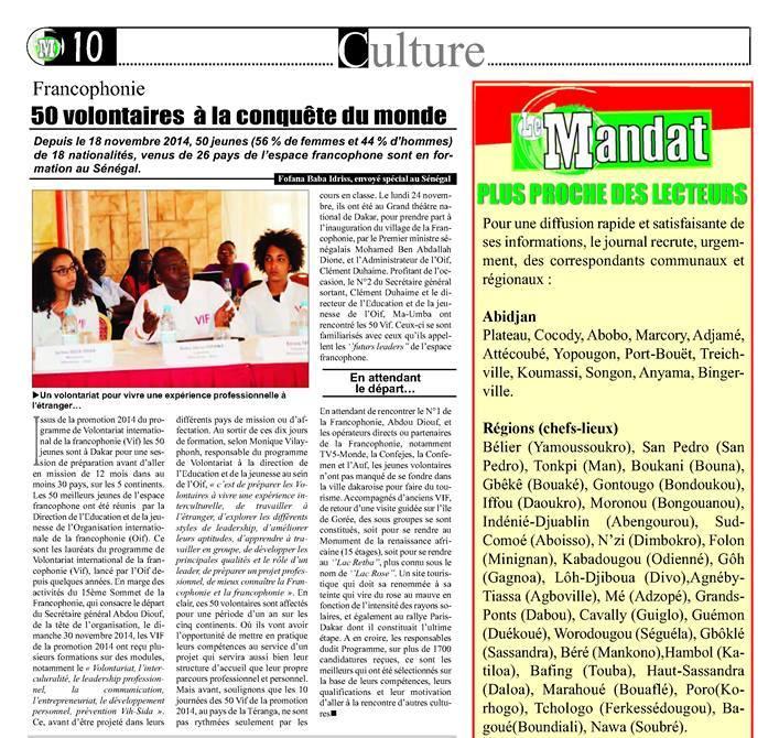 """Un aperçu de l'article, sur la Session de formation de la Promotion VIF2014 à Dakar, dans le quotidien ivoirien """"Le Mandat""""."""