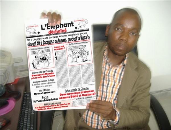 Assalé Tiémoko Aontoine, patron du journal ivoirien l'Éléphant Déchaîné. Ph: Dr