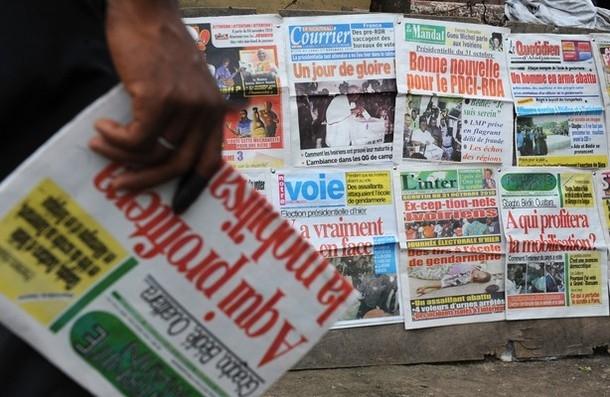 La une de quelques journaux ivoiriens. Ph: Dr