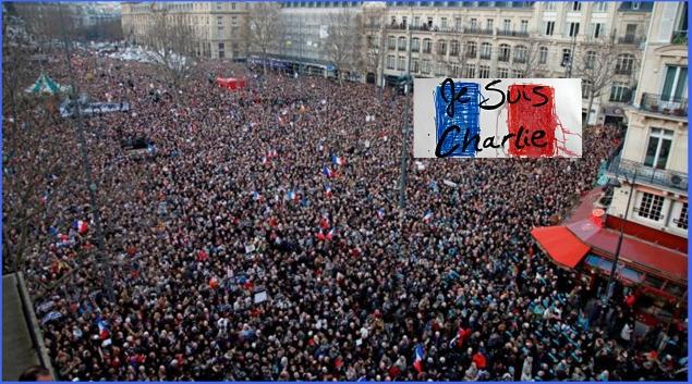 Des millions de français dans les rues de Paris pour dire non au terrorisme, oui à la liberté d'expression. source Ph: France soir