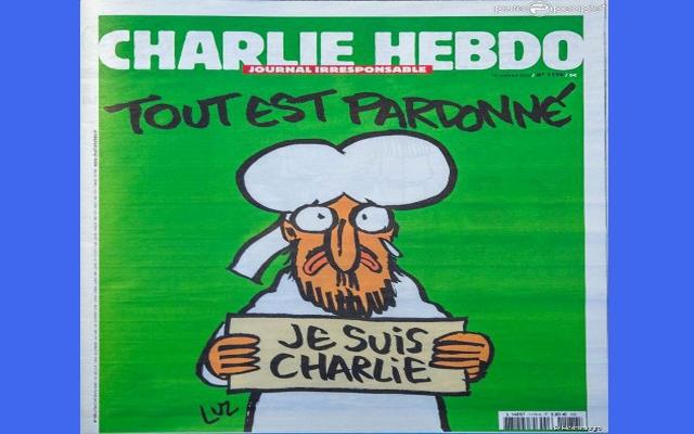 La une de Charlie Hebdo après l'attentat du 7 janvier 2015 par des Djihadistes.