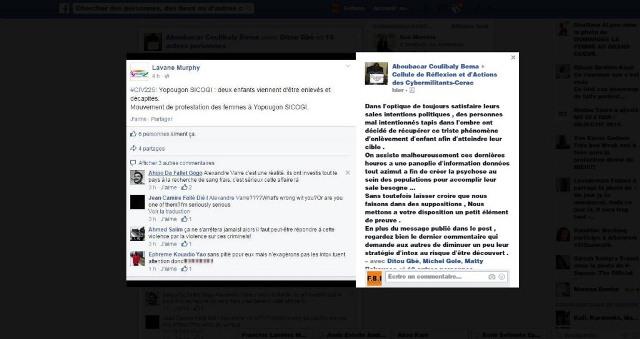 Capture d'écran de commentaires malveillants sur les enlèvements en Côte d'Ivoire.