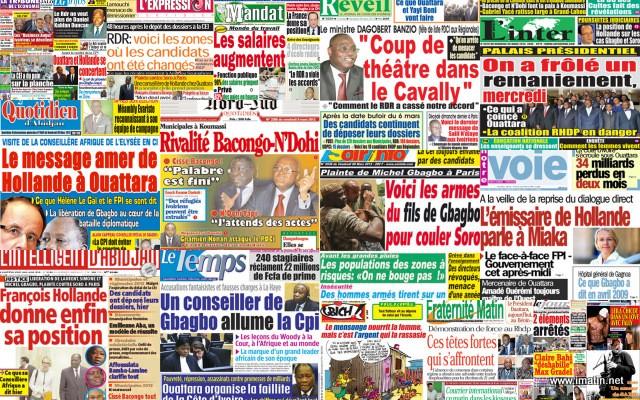 Une représentation de quelques titres de la presse ivoirienne. © DR
