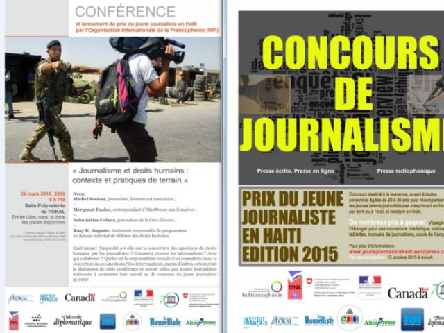 Visuels réalisés pour la conférence et le Concours de journalisme. © FBI & FOKAL