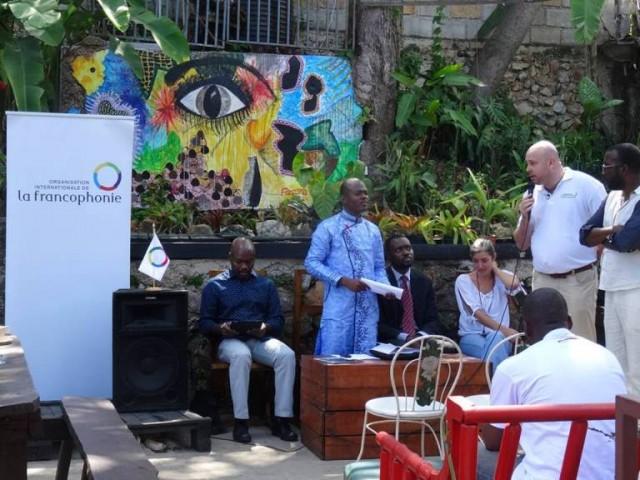 A l'occasion de l'adresse du directeur du Bureau régional de l'OIF et celle du directeur du Centre PEN-Haïti © OIF-BRPC