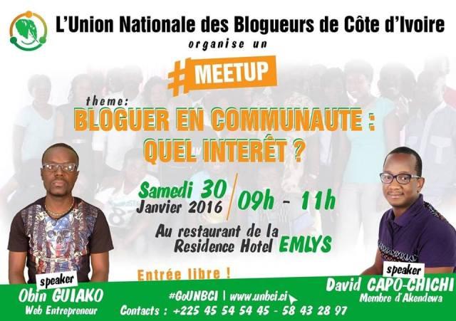 Organisation du 1er MeetUp de l'UNBCI le samedi 30 janvier 2016 ©