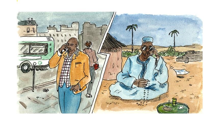 Un marabout et son client au téléphone, d'un pays à un autre. Crédits : Tommy
